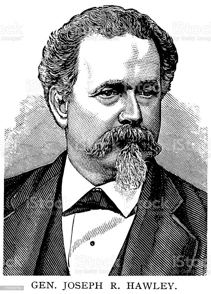 Gen. Joseph R. Hawley royalty-free stock vector art