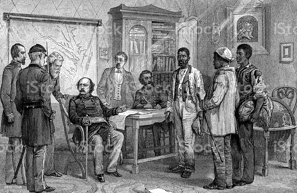 General Butler Refusing to Return Escaped Slaves (Contrabands) stock photo