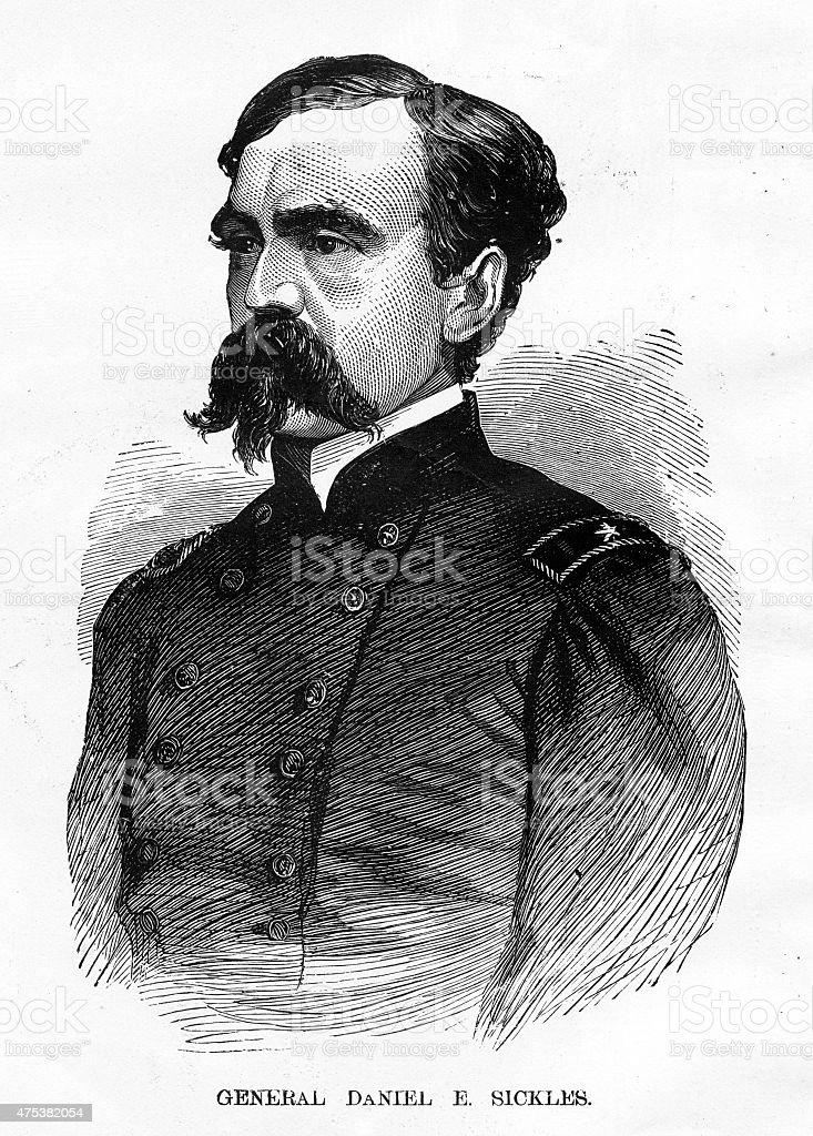 General Daniel E. Sickles Civil War Engraving vector art illustration