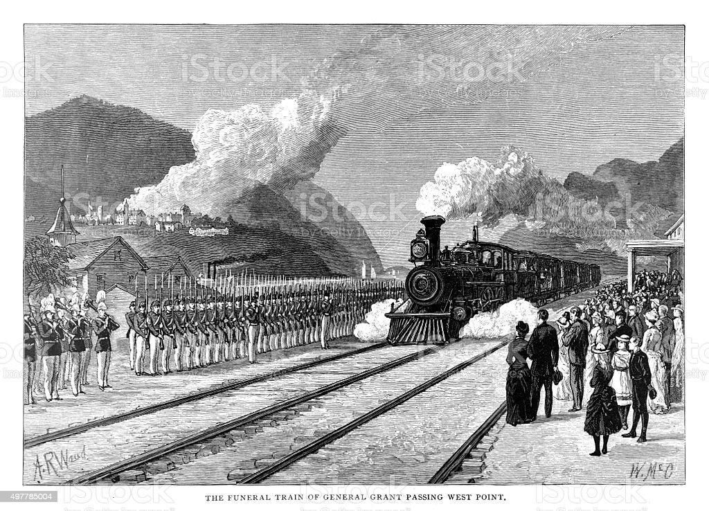 General Grant Funeral Train vector art illustration