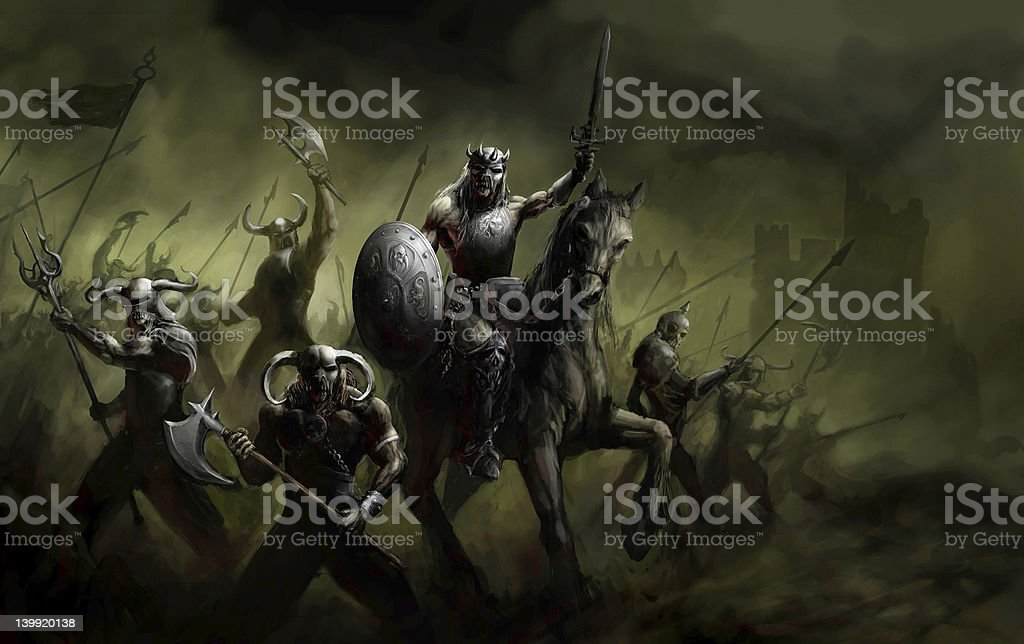 general leading his army in war vector art illustration