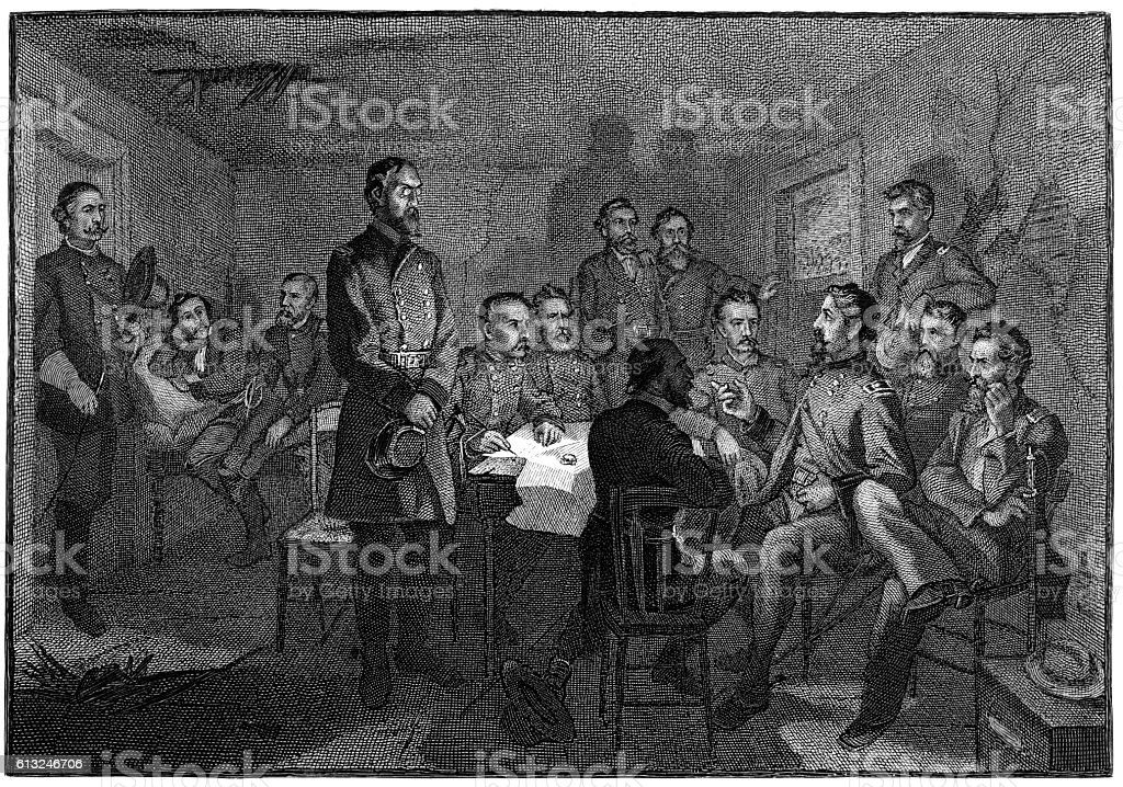General meade`s council of war gettysburg vector art illustration