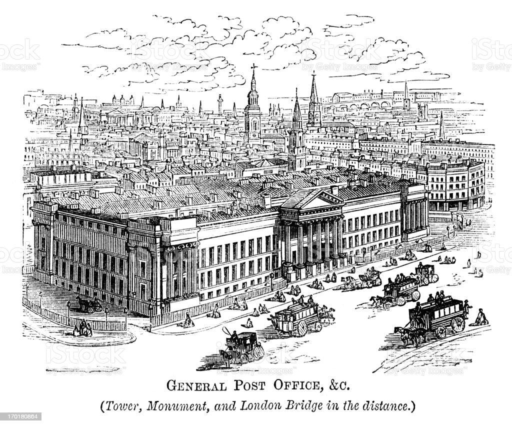 General Post Office, corner of Cheapside & St Martin's-le-Grand (1871) vector art illustration