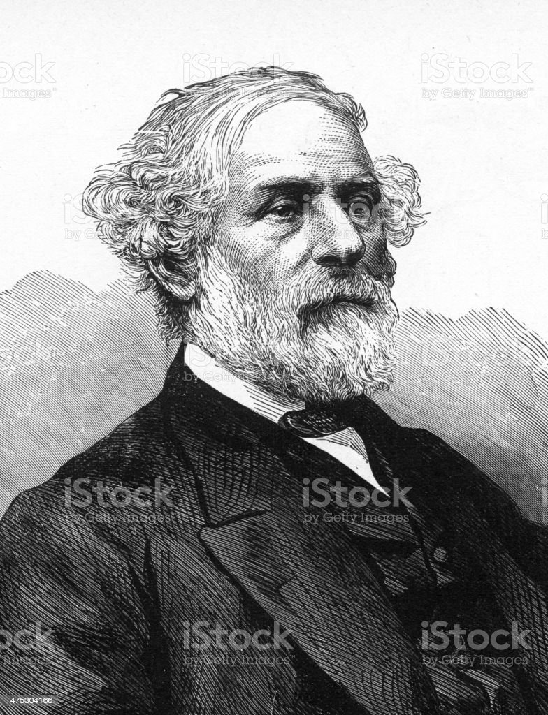 General Robert E. Lee Engraving stock photo