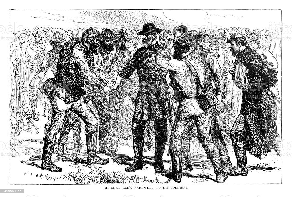 General Robert Edmund Lee's farewell to his soldiers stock photo