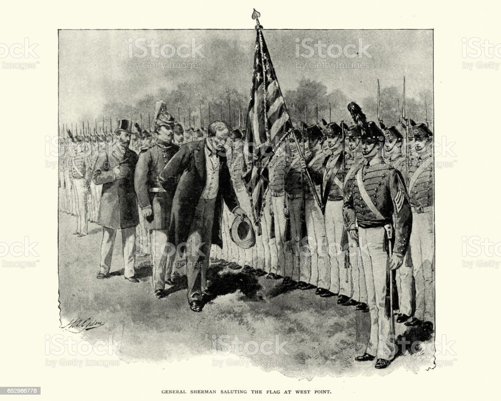 General Sherman saluting the flag at West Point vector art illustration