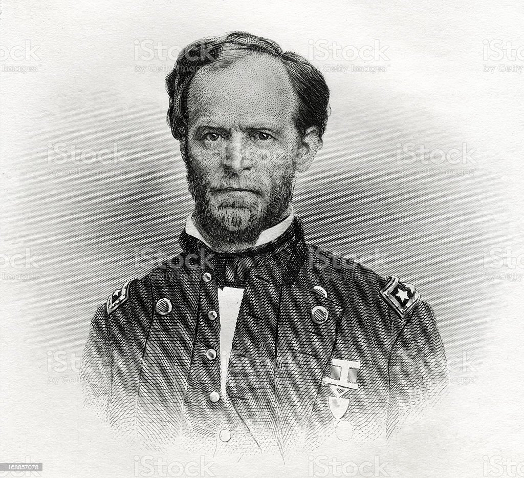 General William T. Sherman royalty-free stock vector art