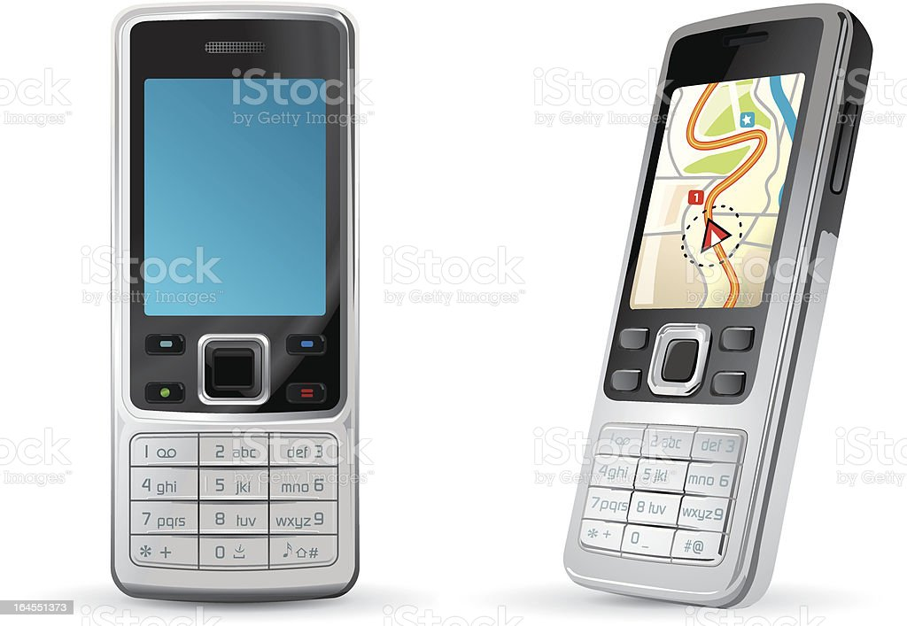 Generic mobile phone with GPS royalty-free stock vector art