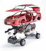 Generic sedan car, technical exploded illustration