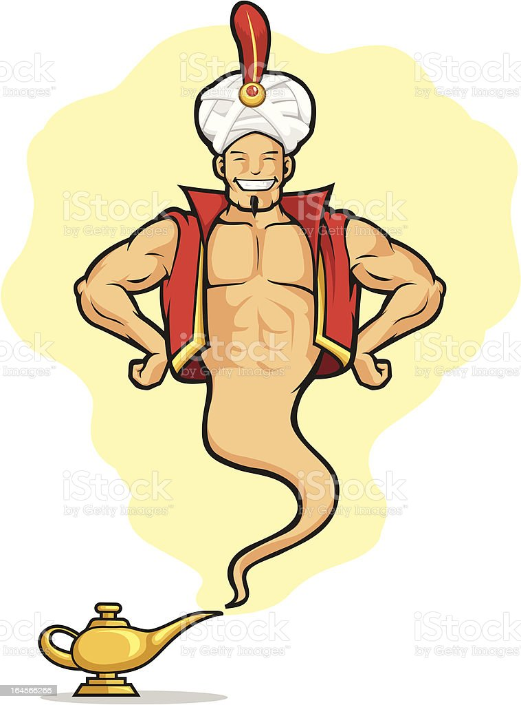 Genie Appear from Magic Lamp vector art illustration