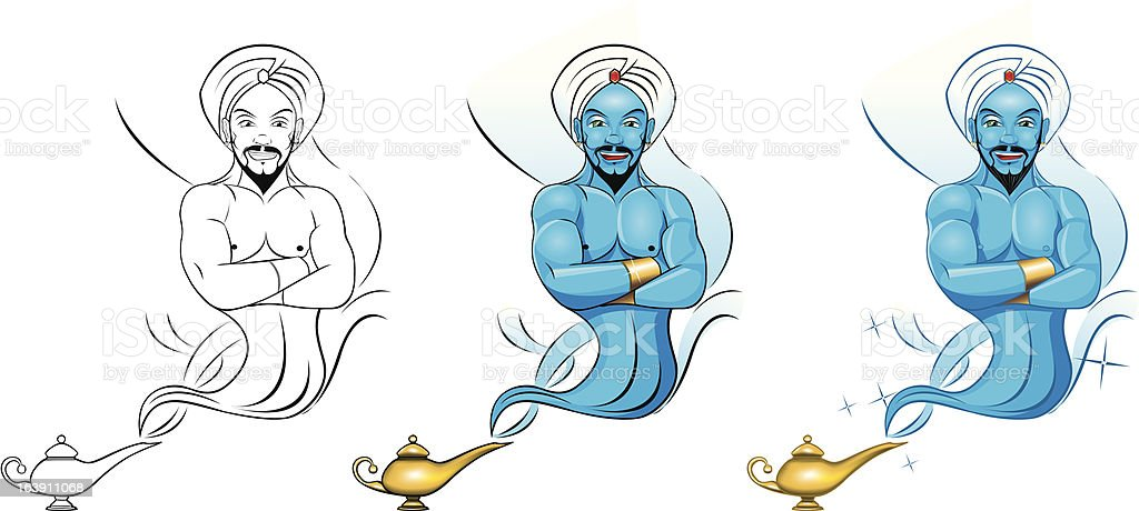 Genie getting out of the lamp vector art illustration