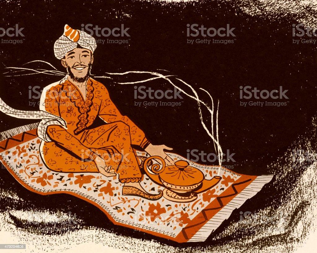 Genie on Magic Carpet vector art illustration