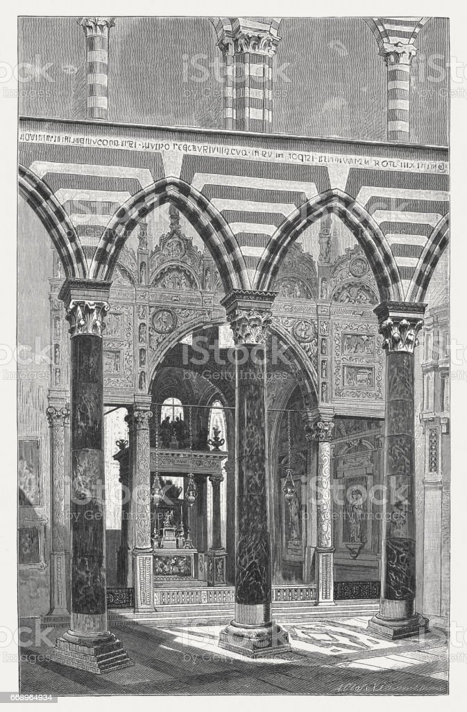 Genoa Cathedral, interior, wood engraving, published in 1884 vector art illustration