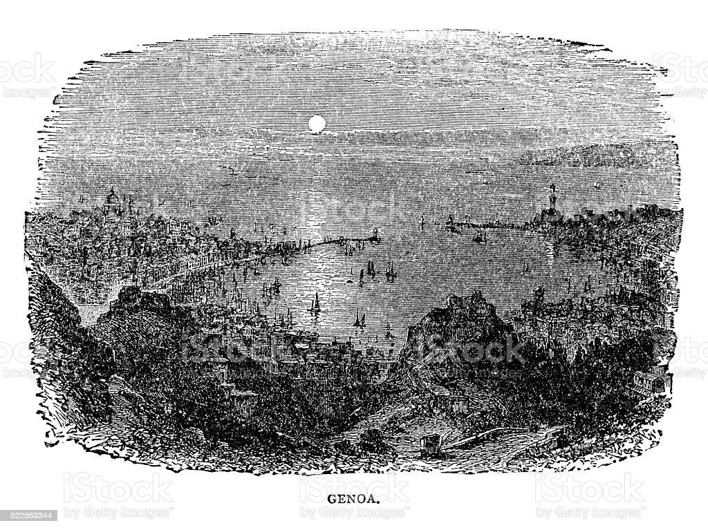 Genoa Italy vector art illustration