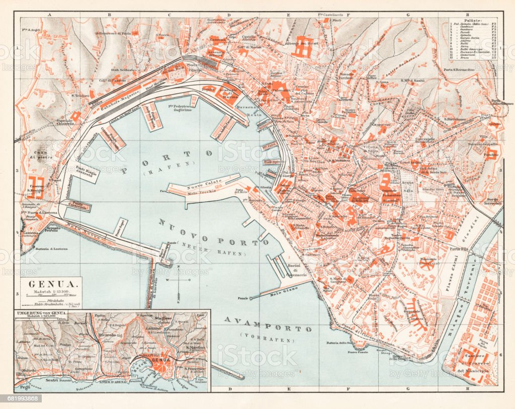Genoa Itlay map 1895 vector art illustration
