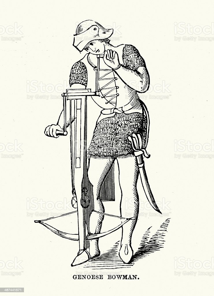 Genoese crossbowman vector art illustration