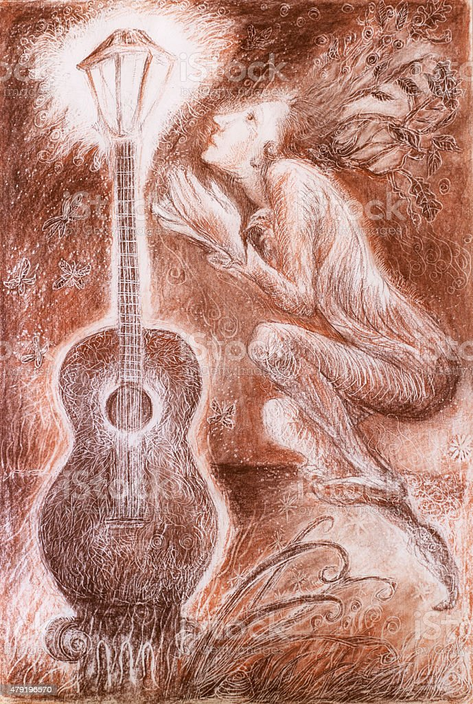 Gentle dreamy fairy poet crawing guitar light vector art illustration
