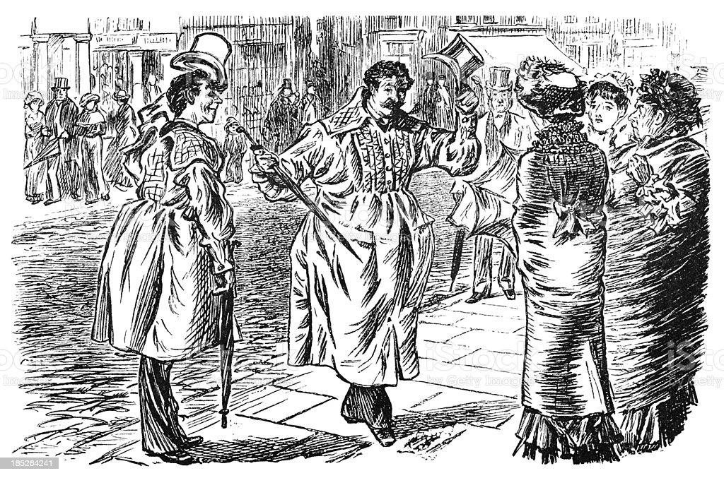 Gentlemen dressed in smocks greeting bemused Victorian ladies royalty-free stock vector art