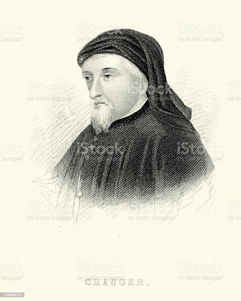 Geoffrey Chaucer vector art illustration