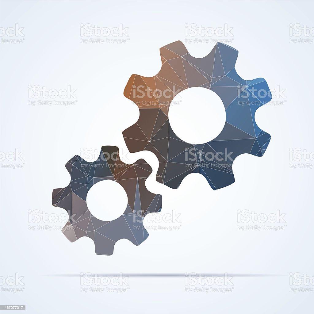 Geometric gear icon vector art illustration