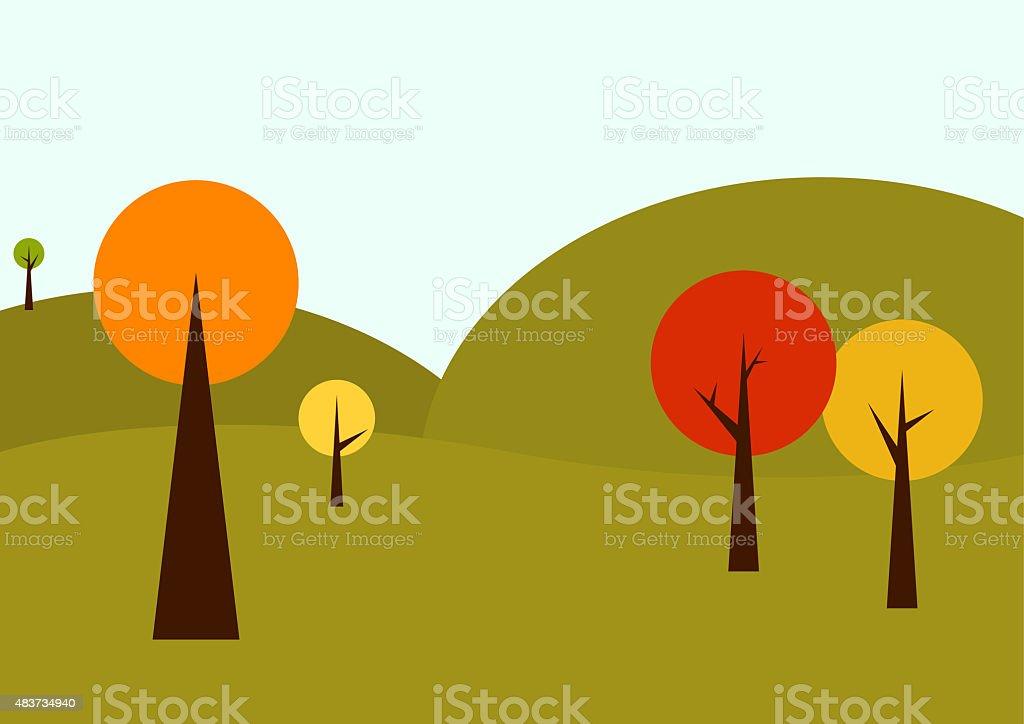 Geometrical autumn landscape vector art illustration