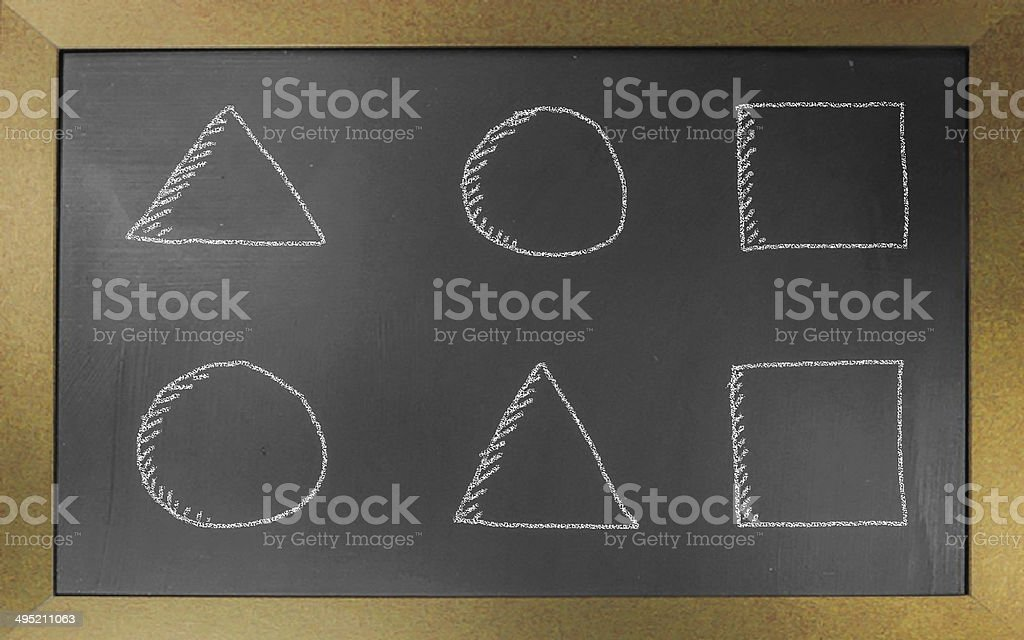 Geometry drawn on black chalkboard,illustration royalty-free stock vector art