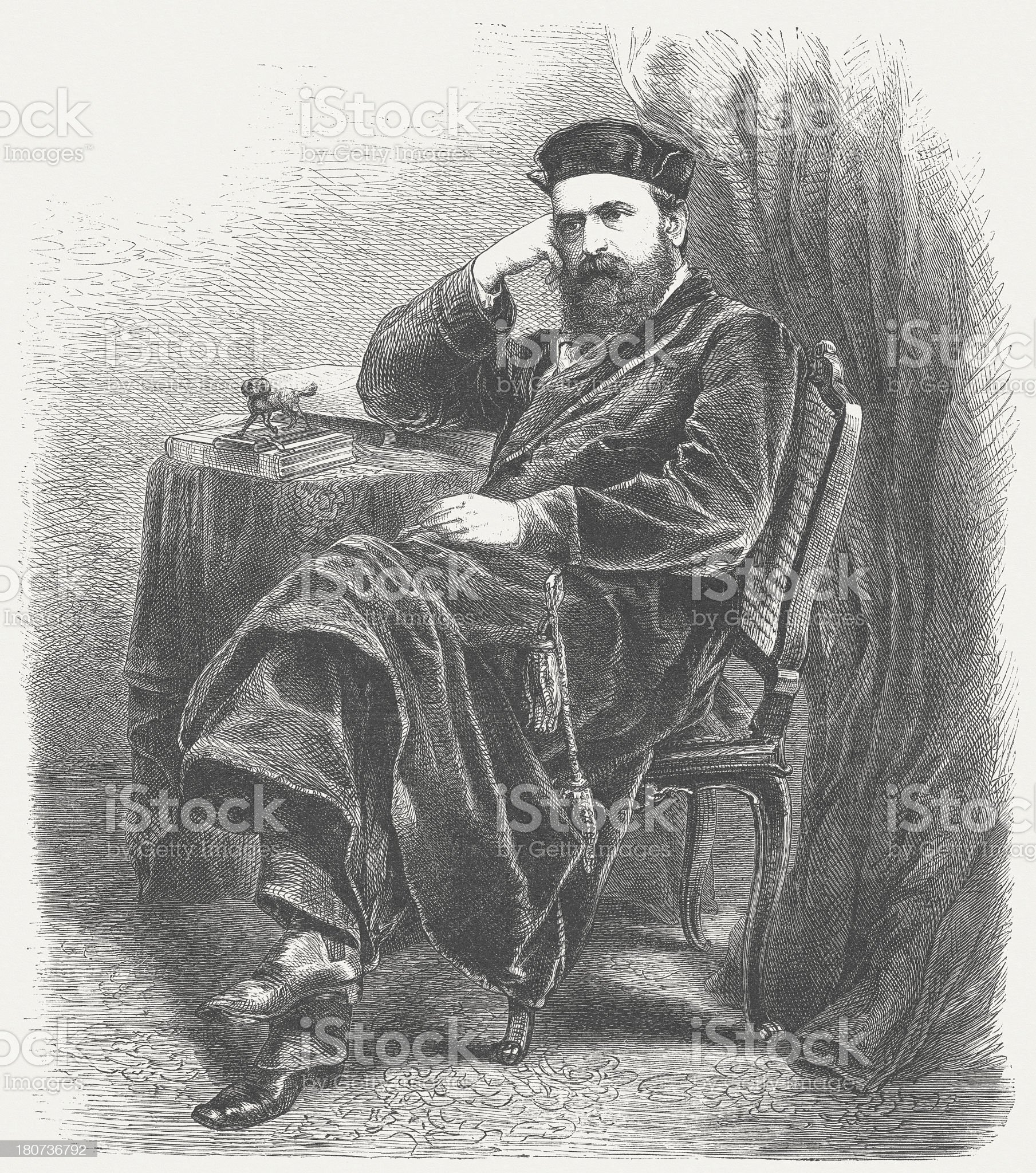 Georg Herwegh (1817-1875), German poet, wood engraving, published in 1875 royalty-free stock vector art
