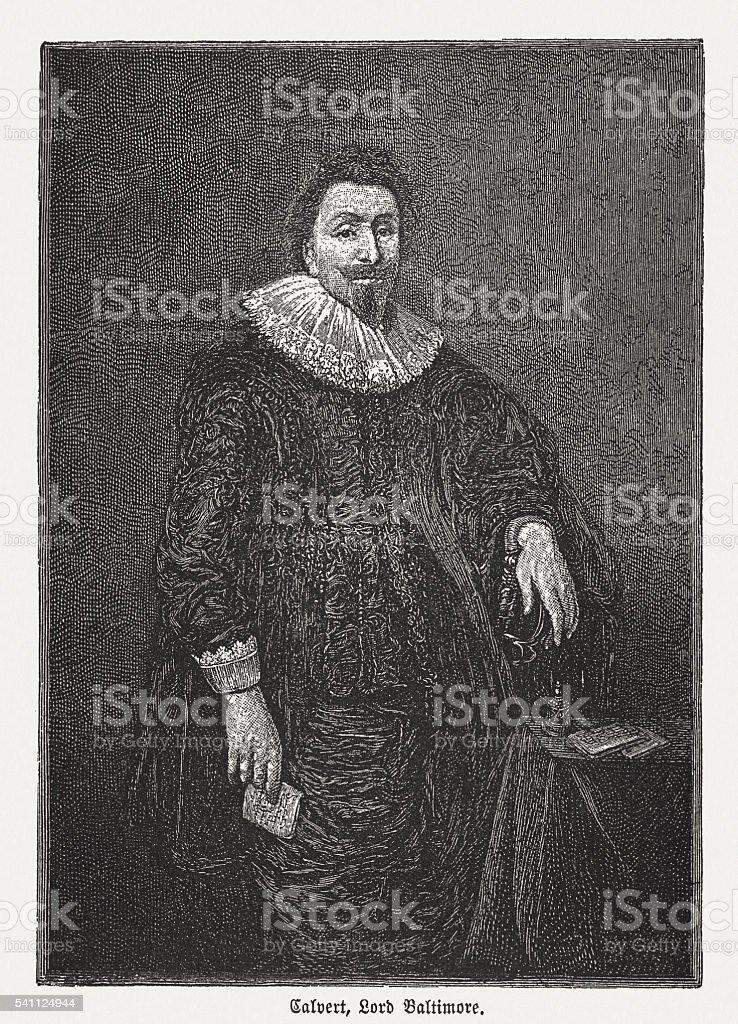 George Calvert, 1st Baron Baltimore (1579-1631), wod engraving, published 1884 vector art illustration