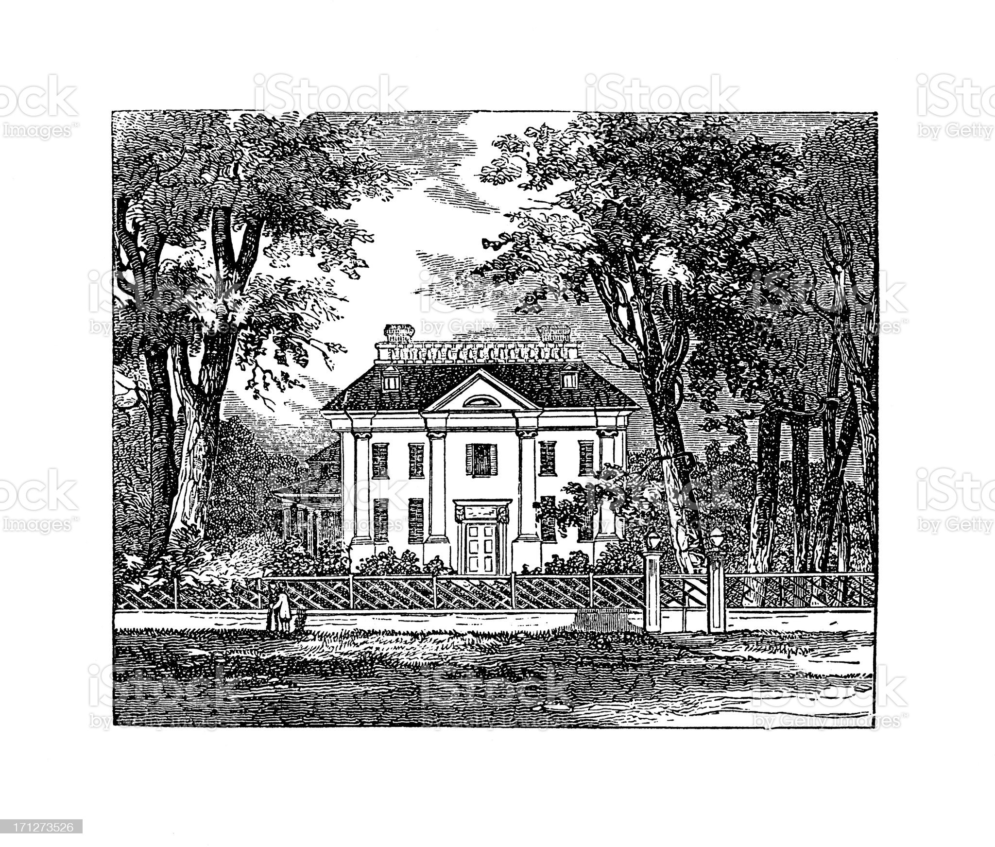 George Wahington's Headquarters at Cambridge, Massachusetts | Historic American Illustrations royalty-free stock vector art
