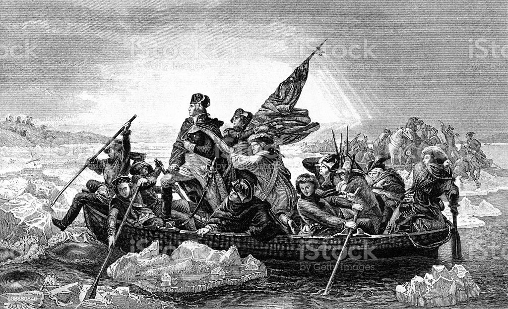 George Washington crossing the River Delaware vector art illustration