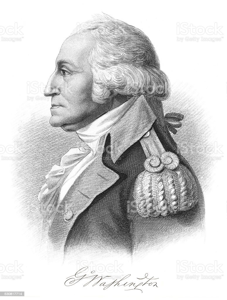 George Washington engraving 1875 stock photo