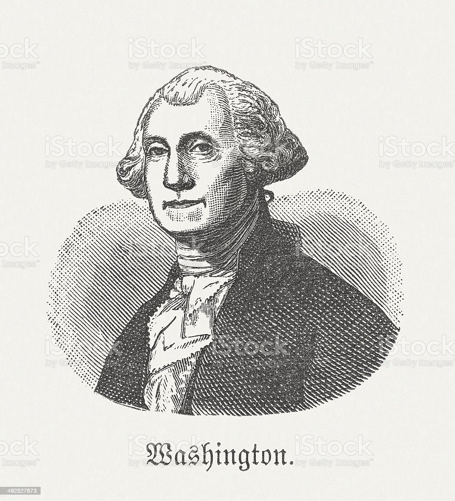 George Washington (1732-1799), first american president, wood engraving, published 1881 vector art illustration