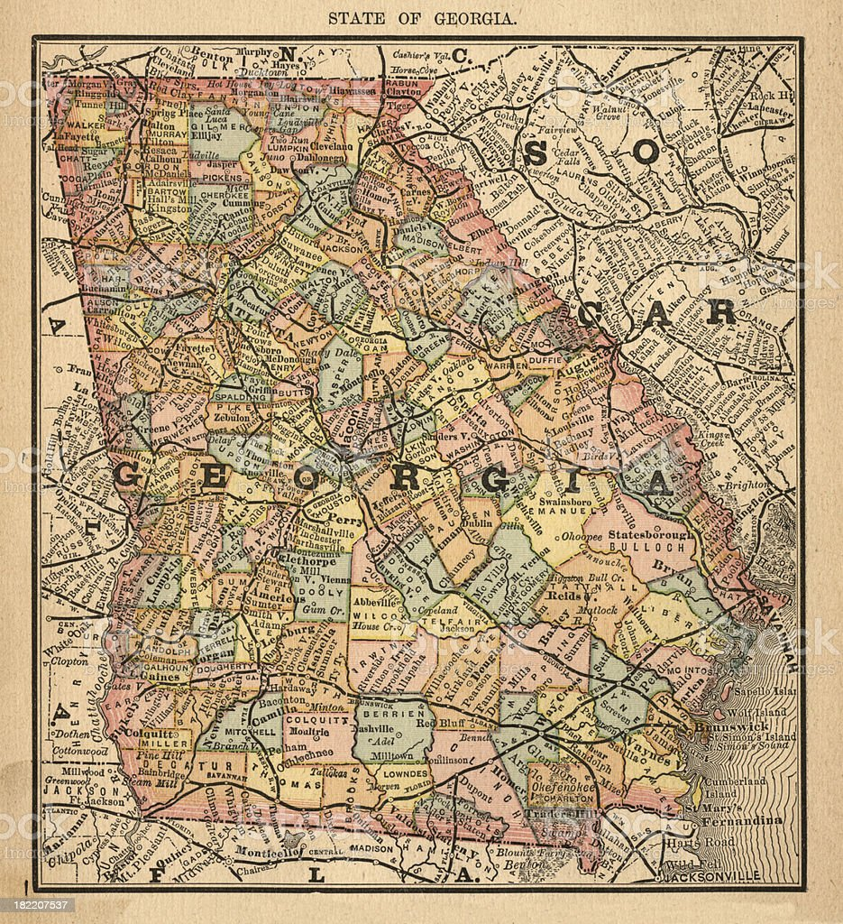 Georgia Usa Antique Maps High Resolution Stock Vector Art - Free high resolution us map