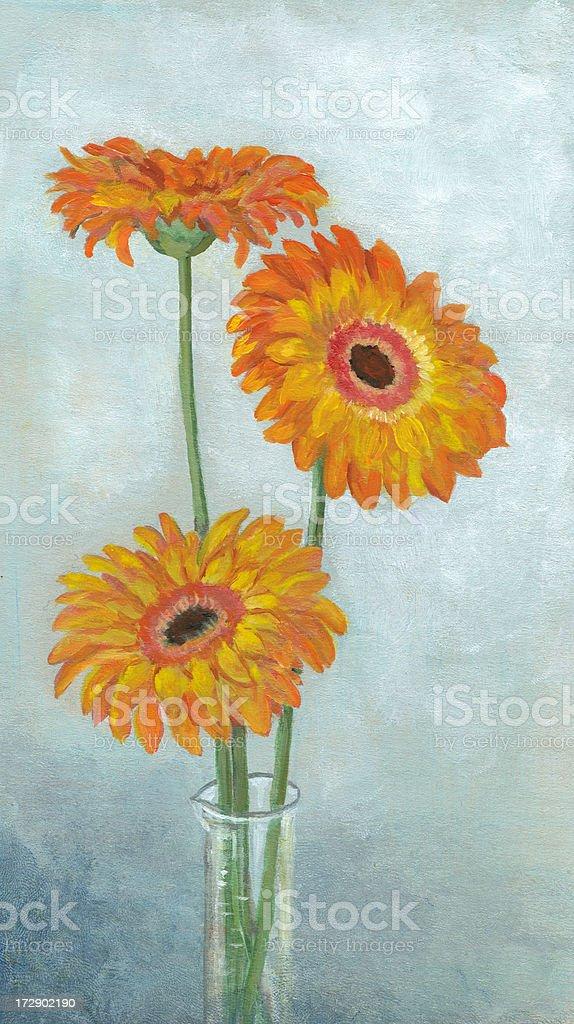 Gerbera flowers arrangement royalty-free stock vector art