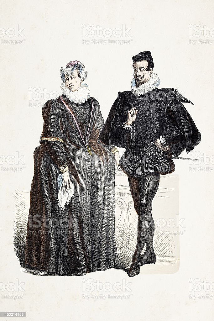 German aristocratic couple in traditional clothing from 16th century royalty-free stock vector art