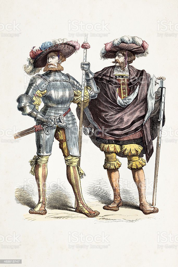 German captain and Lieutenant with different costumes 16th century royalty-free stock vector art