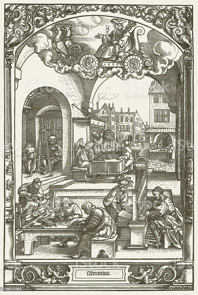 German city life, 16th century, by Hans Sebald, published 1881 vector art illustration