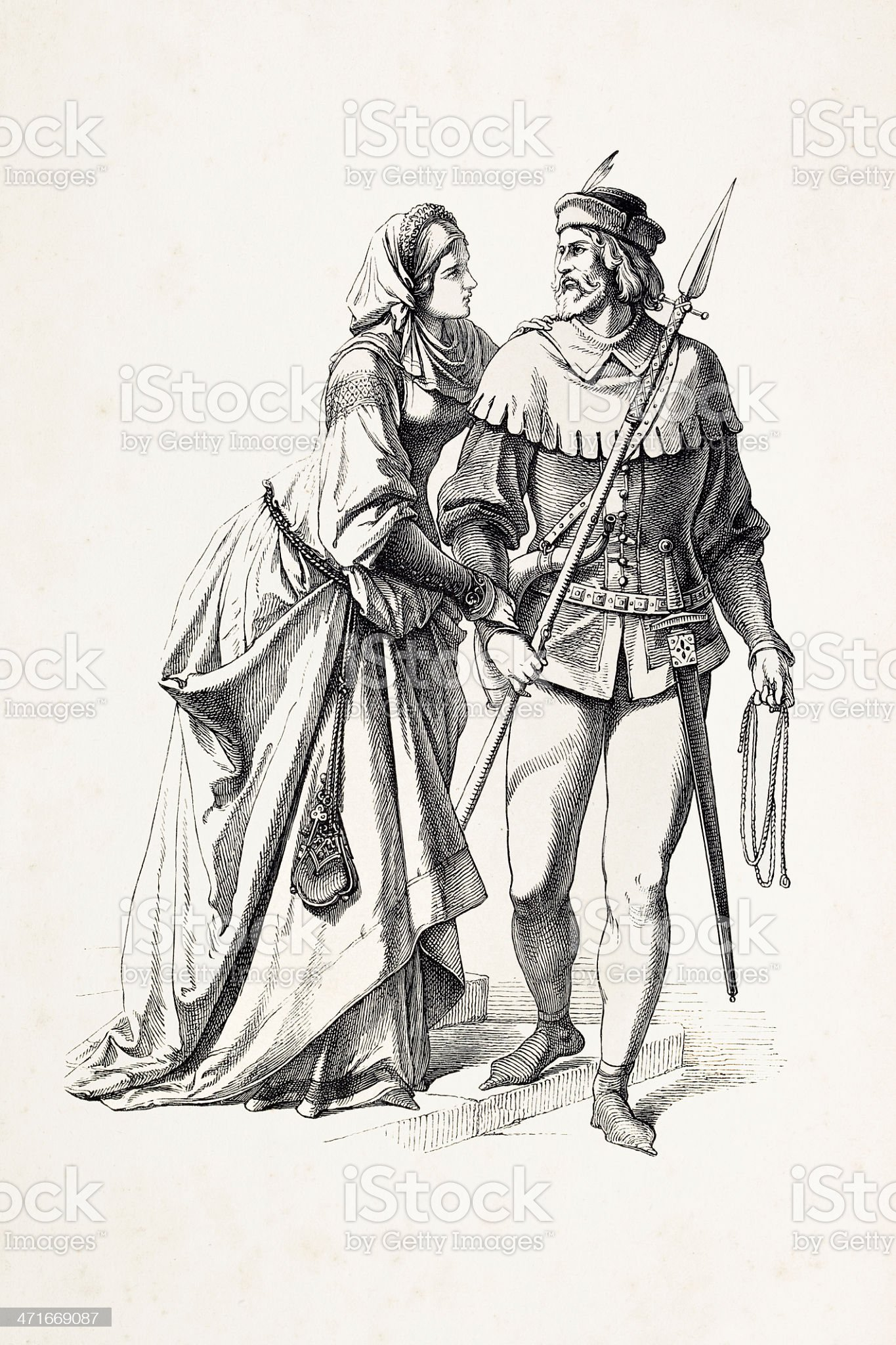 German couple in traditional clothing from 14th century royalty-free stock vector art