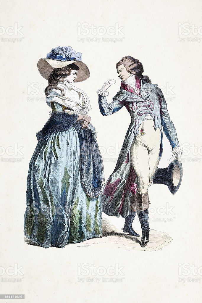 German couple in traditional clothing from 1770 vector art illustration