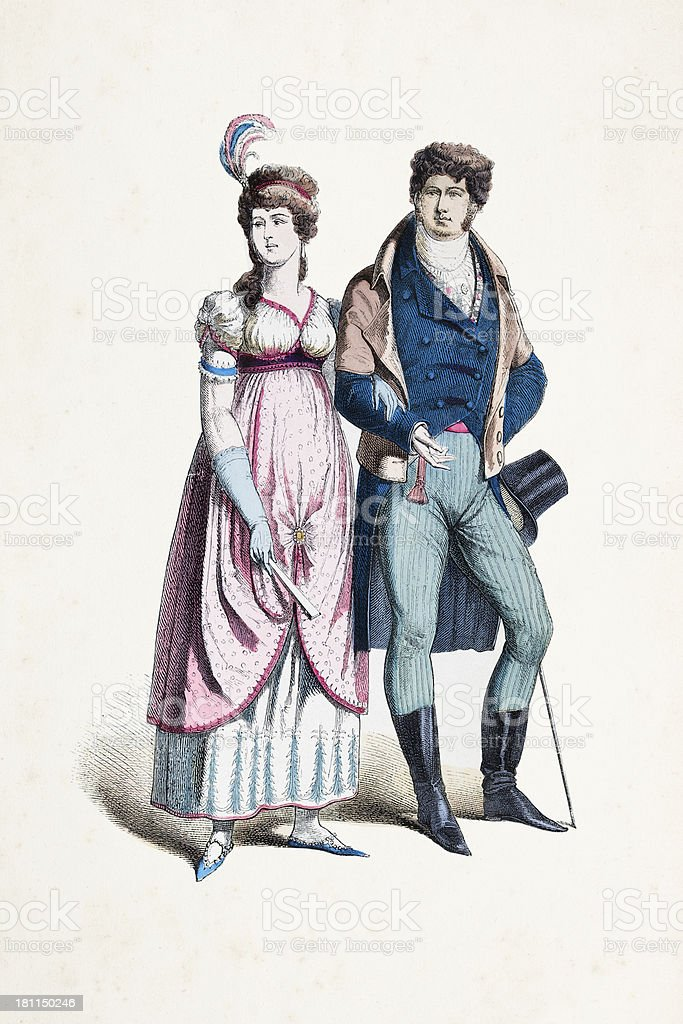 German couple in traditional clothing from 1800 vector art illustration