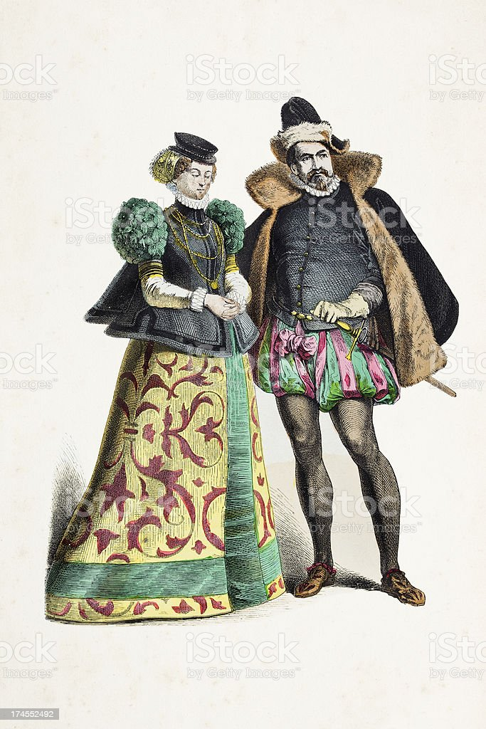 German couple of palatinate in traditional clothing 14th century royalty-free stock vector art