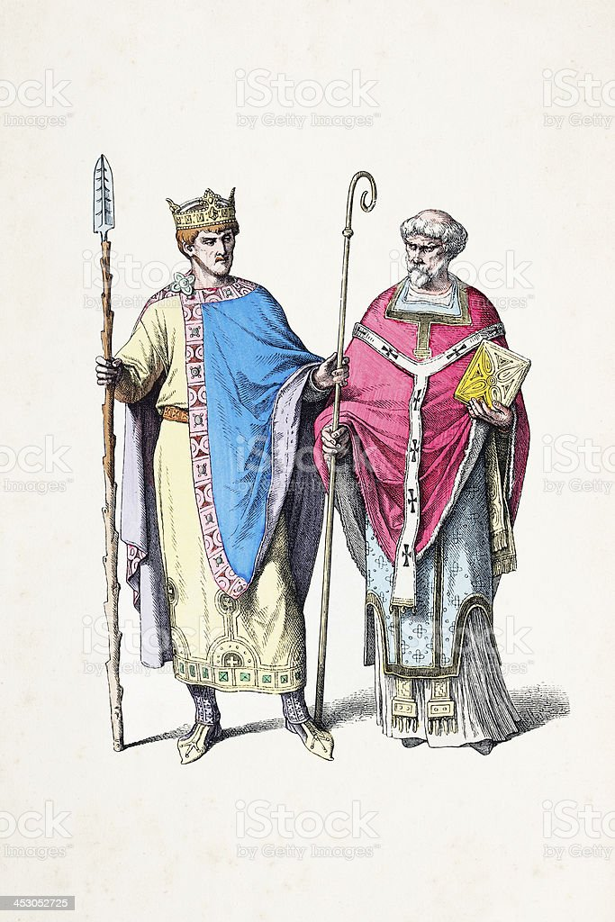 German emperor Henry II with Bishop from 10th century royalty-free stock vector art
