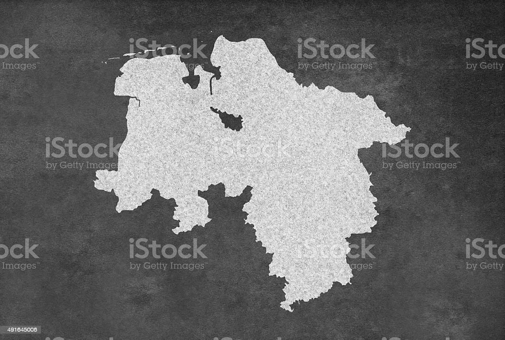 German Federal State of Lower Saxony Map Outline on Blackboard stock photo