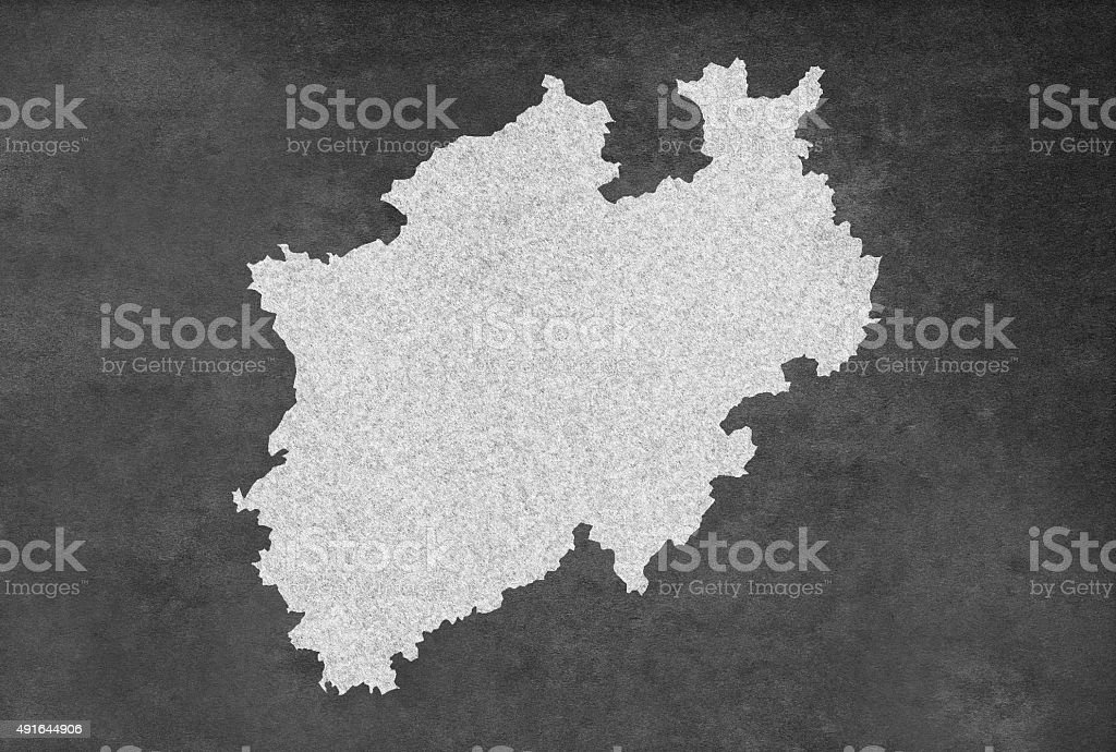 German Federal State of Northrhine Westphalia Map Outline on Blackboard stock photo