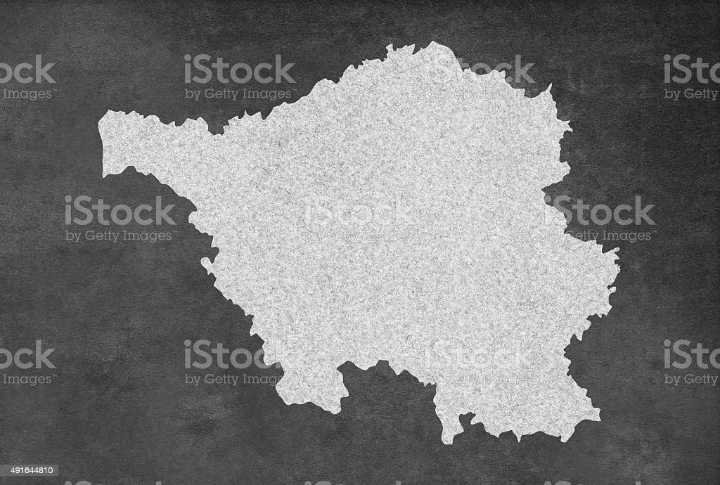 German Federal State of Saarland Map Outline on an Blackboard stock photo