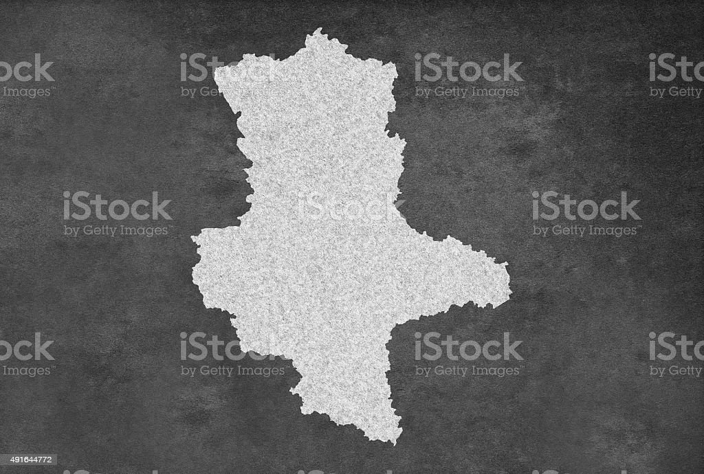 German Federal State of Saxony Anhalt Map Outline on Blackboard stock photo