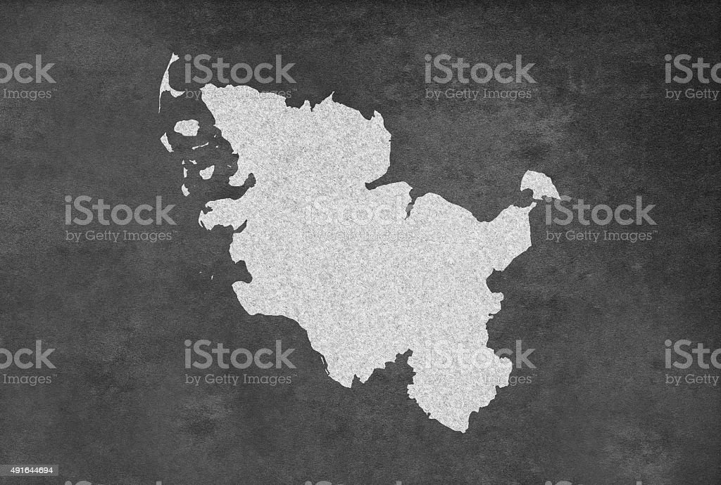 German Federal State of Schleswig-Holstein Map Outline on Blackboard stock photo