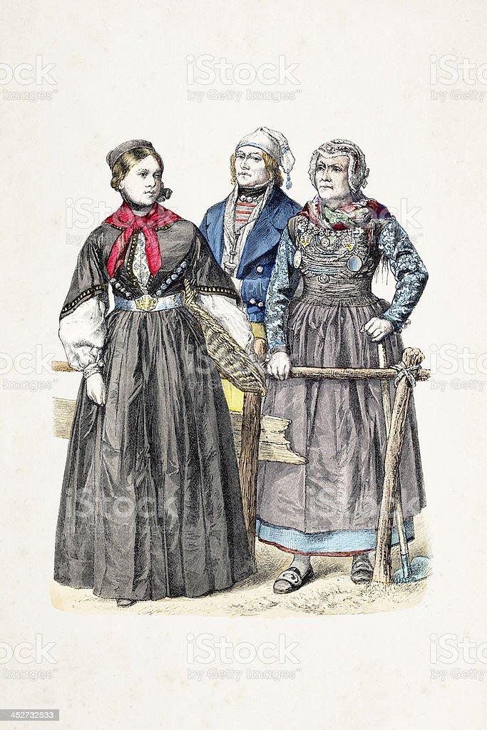 German inhabitants of Schleswig-Holstein from 1870 royalty-free stock vector art
