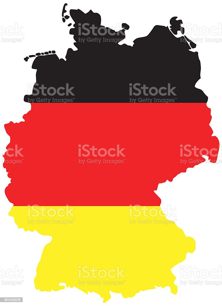 German Map, Germany with Flag royalty-free stock vector art