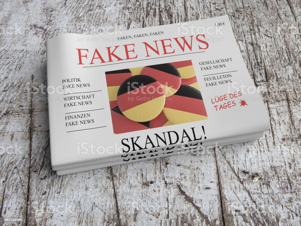 German Media Concept: Pile of Newspapers Fake News On Scratched Old Wood, 3d illustration stock photo